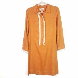 Vintage orange tuxedo ruffle dress w buttons Sz 10